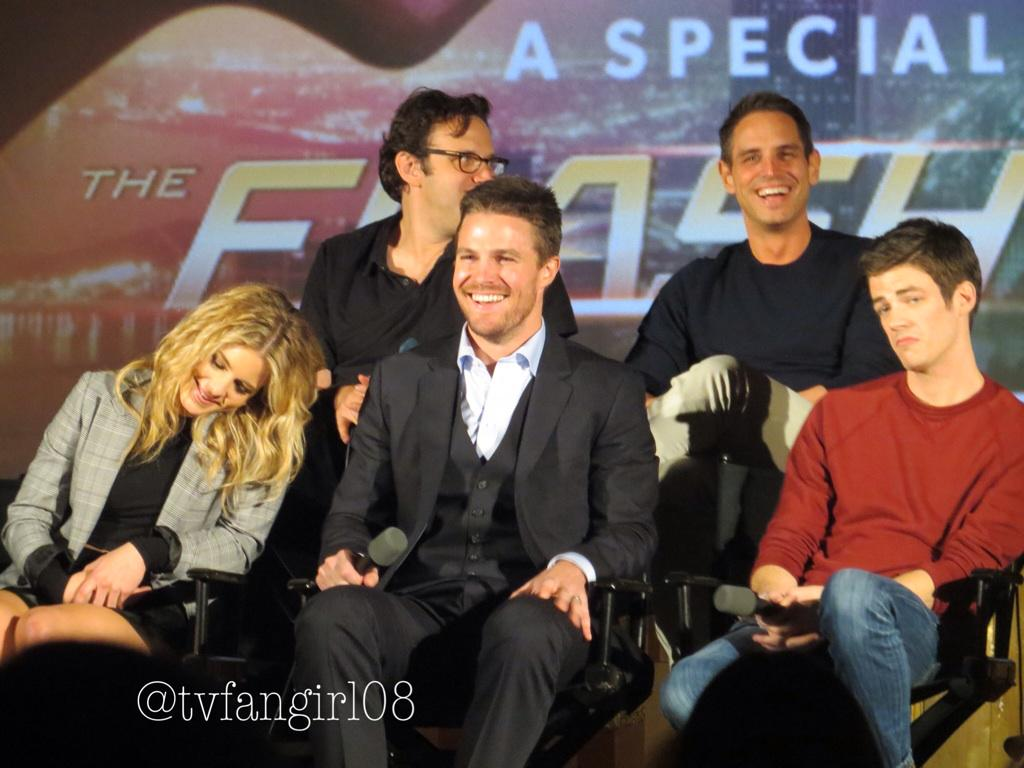 One of my cute pictures of @amellywood @EmilyBett @grantgust @GBerlanti from the Flarrow Screening #captionthis http://t.co/j3FtpjFwrq