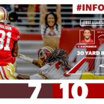 At the half, the #49ers lead 10-7. Stats powered by @SAP http://t.co/1aIgxgUVZ6