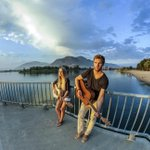 A summer evening at Riverside Park in #Kamloops, strumming #RiversongGuitars & watching the sunset http://t.co/ctruBcVu0P
