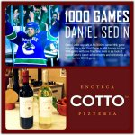 1000 Games for Daniel Sedin? CONGRATS! Cheers with 25% OFF all Bottles of Wine every Sunday! #1000Daniel http://t.co/zOmvdcxoPh