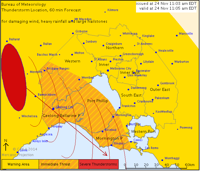 "Giant Red Ellipse of Doom is coming: ""@ABCemergency Severe storm warning for Melb. Heavy rain, hail, strong wind http://t.co/NUX3RxGpWW"""