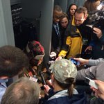 The postgame scene around Marshawn Lynch. Said fewer words than there were people around him. And so what #Seahawks http://t.co/EiemzpNH8S