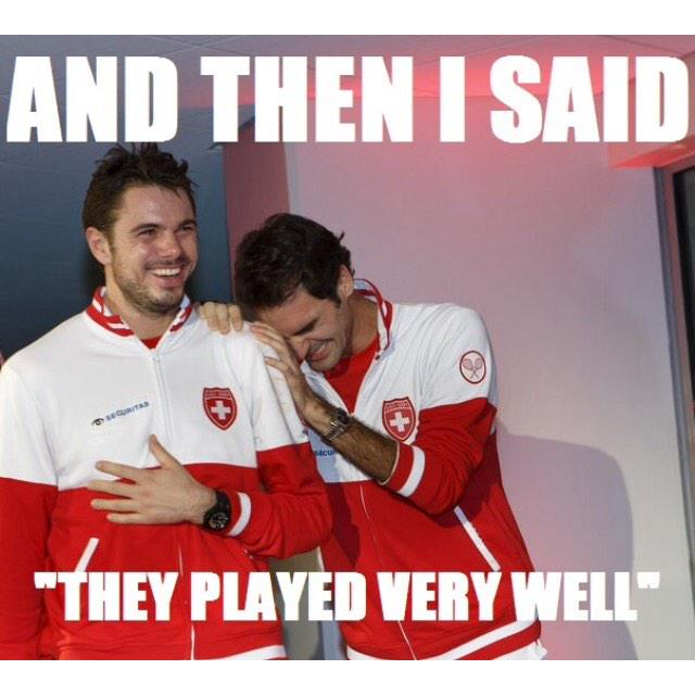 Is this #trolling or #throwingshade? RT @ivandx: L'après Coupe Davis @rogerfederer @stanwawrinka #FRASUI http://t.co/RFNwjs5Oob