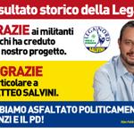 Risultato storico della Lega, grazie ai militanti e a @matteosalvinimi. Abbiamo asfaltato politicamente Renzi e il Pd http://t.co/u4mhL0HKIY