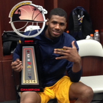 Jon Holton with the trophy! #WVU #MountaineerNation http://t.co/rLXgKGW3tt