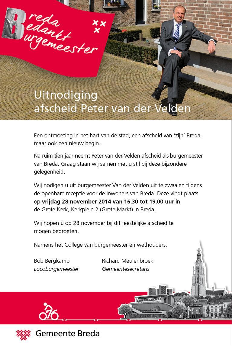 Uitnodiging receptie burgemeester Van der Velden op vrijdag 28 november van 16.30 tot 19.00 uur in de Grote Kerk http://t.co/36CFki9KEE