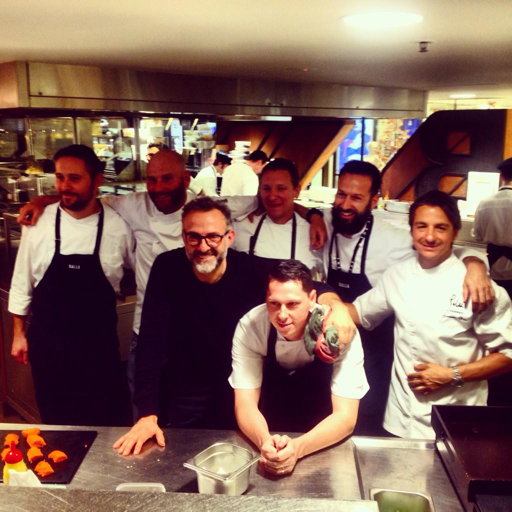 Nice pic guys! RT @goodfoodmonth: The dream team in the @OsteriaBalla kitchen with @massimobottura #chefs http://t.co/7yz7cCIm6E