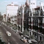 CLASSIC OLD BUILDINGS OF ST GEORGES TCE, 1954 - Pre-demolition era, with Bank of Adelaide, CML etc #Perth @watoday http://t.co/NjVzXsXVCE