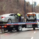 Car in fatal DVP crash now out of ditch and on flatbed. Police say NB lanes could reopen in next hour. http://t.co/7O2MV6cGZH