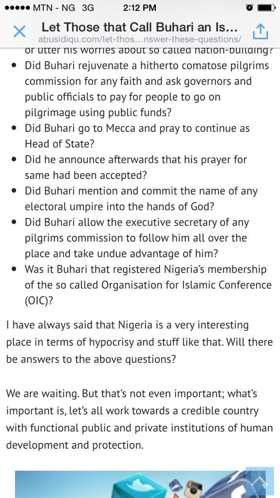 Buhari or GEJ, who is the religious bigot? http://t.co/3otnlwUWe1