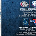 This weekend get into @LATechHoops and @LATechFB game with just one ticket. SUPPORT YOUR DOGS! #BeatRice #WeAreLATech http://t.co/bQrrZgr5PL
