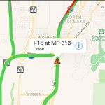 Crash: SB I-15 MP 313, Davis County, blocking 2 lanes on the right. http://t.co/hMJ4AqCubL
