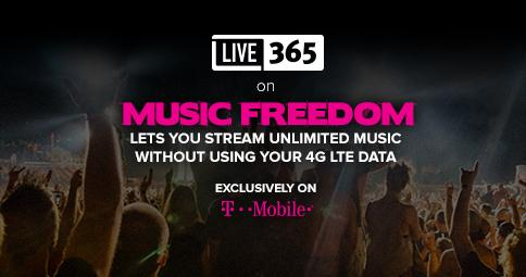 Streaming our stations through @tmobile? Live365 just joined the #musicfreedom list so you won't burn your data! http://t.co/qHGOnaJ8vO