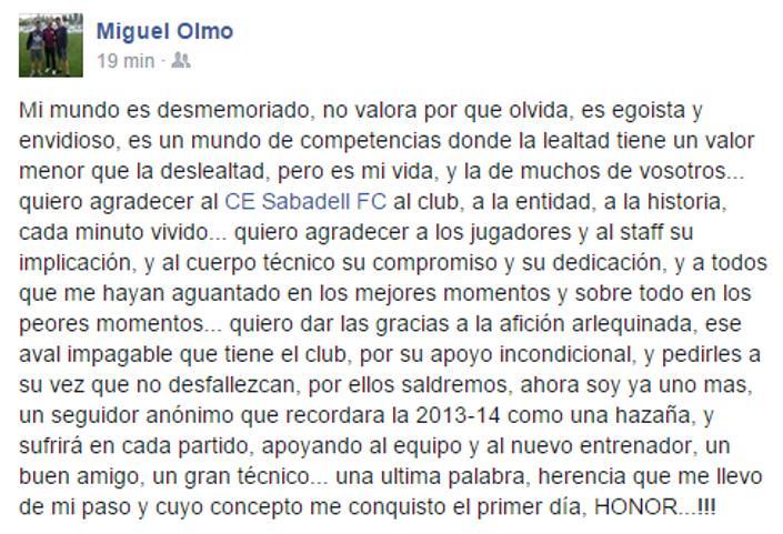 Así se despide @miquelolmoforte del @CESabadell. ¡¡Gracias y suerte!! http://t.co/VEWTOfJmNX