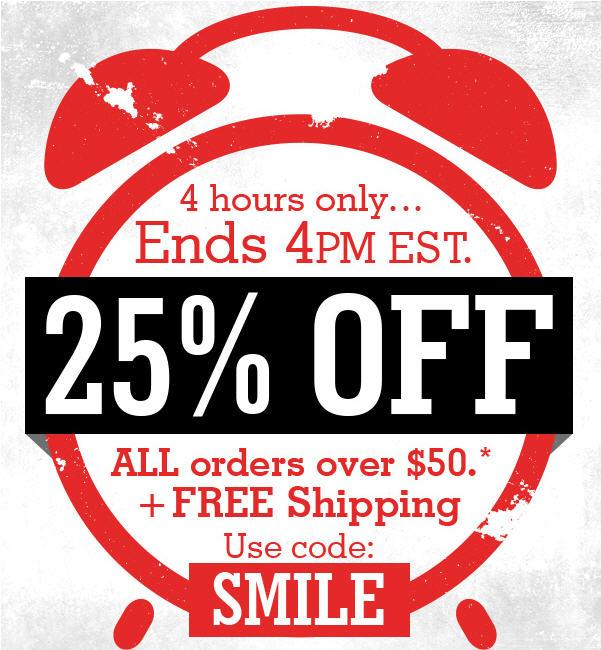 Use code SMILE for 25% off ALL ORDERS over $50 (+free shipping!) from noon to 4 at FansEdge: http://t.co/LLbNOwqvIp http://t.co/rTeAtnONcD