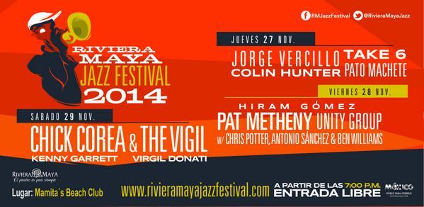 El @RivieraMayaJazz llega a #PlayaDelCarmen. ¡No te lo pierdas este 27, 28 y 29 de noviembre! http://t.co/pSJEYWdU9g