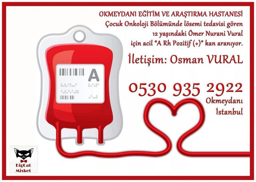 Lösemi hastası bir kardeşimiz için A rh + kan aranıyor.Duyurmaya yardım ederseniz sevinirim. İletişim bilgileri ekte. http://t.co/ZAJ6iwtn2G