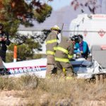 Image from the scene of a fatal plane at Las Cruces International Airport. NMSP confirms 1 dead @CrucesSunNews http://t.co/Ju8FA8LbM2
