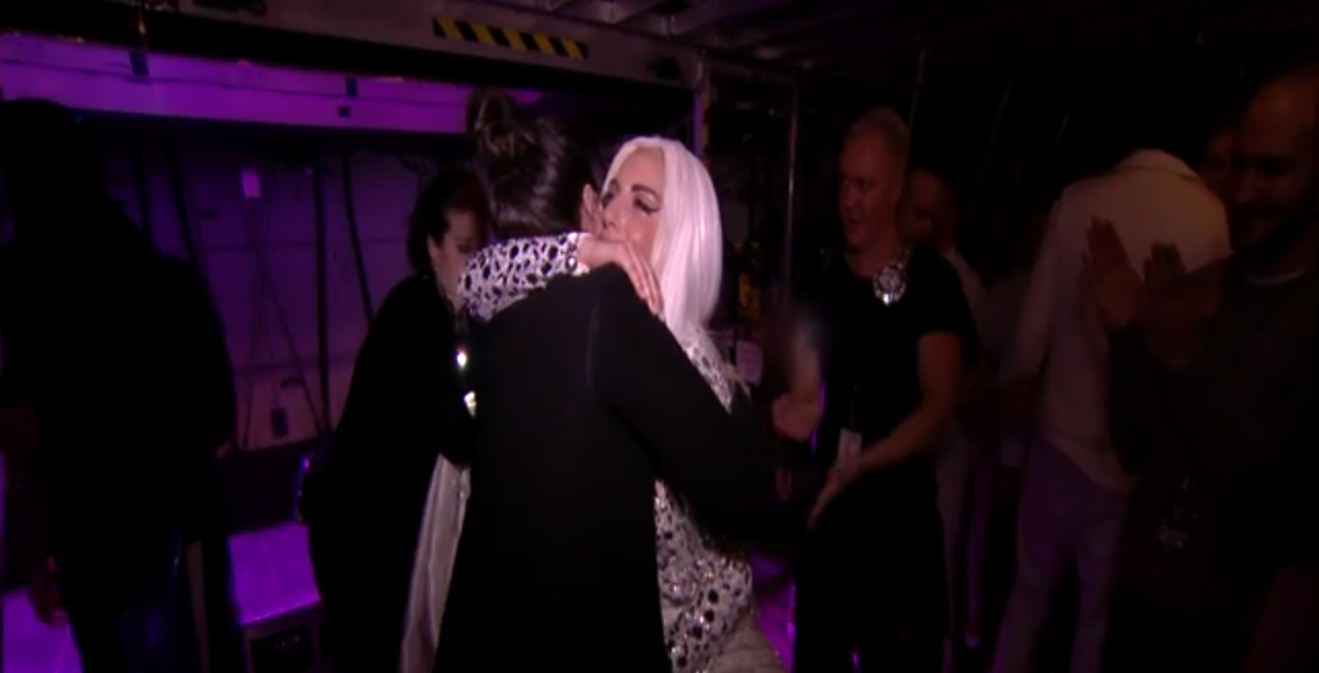 Lady Gaga right now, crying in her sister's arms after the last show of her worldwide tour.  #artRAVELivestream http://t.co/8WIx2Ga3Km