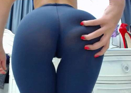 Beautiful solo girl April Blue slides yoga pants over her thong attired ass  1009981
