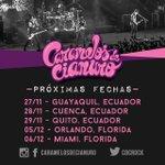 Próximas fechas: •27/11 #Guayaquil •28/11 #Cuenca •29/11 #Quito •05/12 #Orlando •06/12 #Miami. #cdccalendario http://t.co/4vJkie4BDR