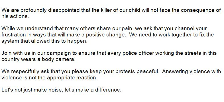 Full statement from the family of Michael Brown: http://t.co/2EKuBBQC6f