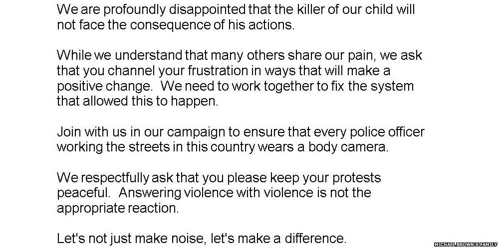 Full statement from family of #MichaelBrown after #Ferguson ruling http://t.co/Yyioy5a2UL http://t.co/lrhT4cFhkD
