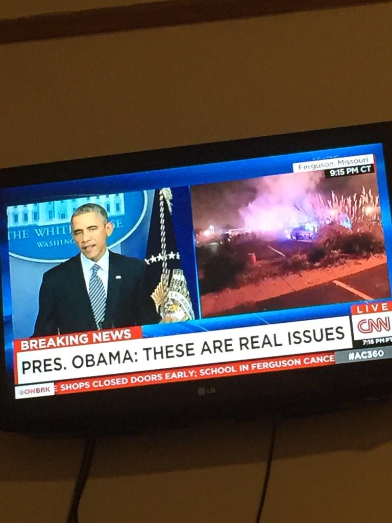 This split screen is absolutely polarizing, hearing one thing and witnessing another. #Ferguson #Obama http://t.co/ov2ZiLKtNF