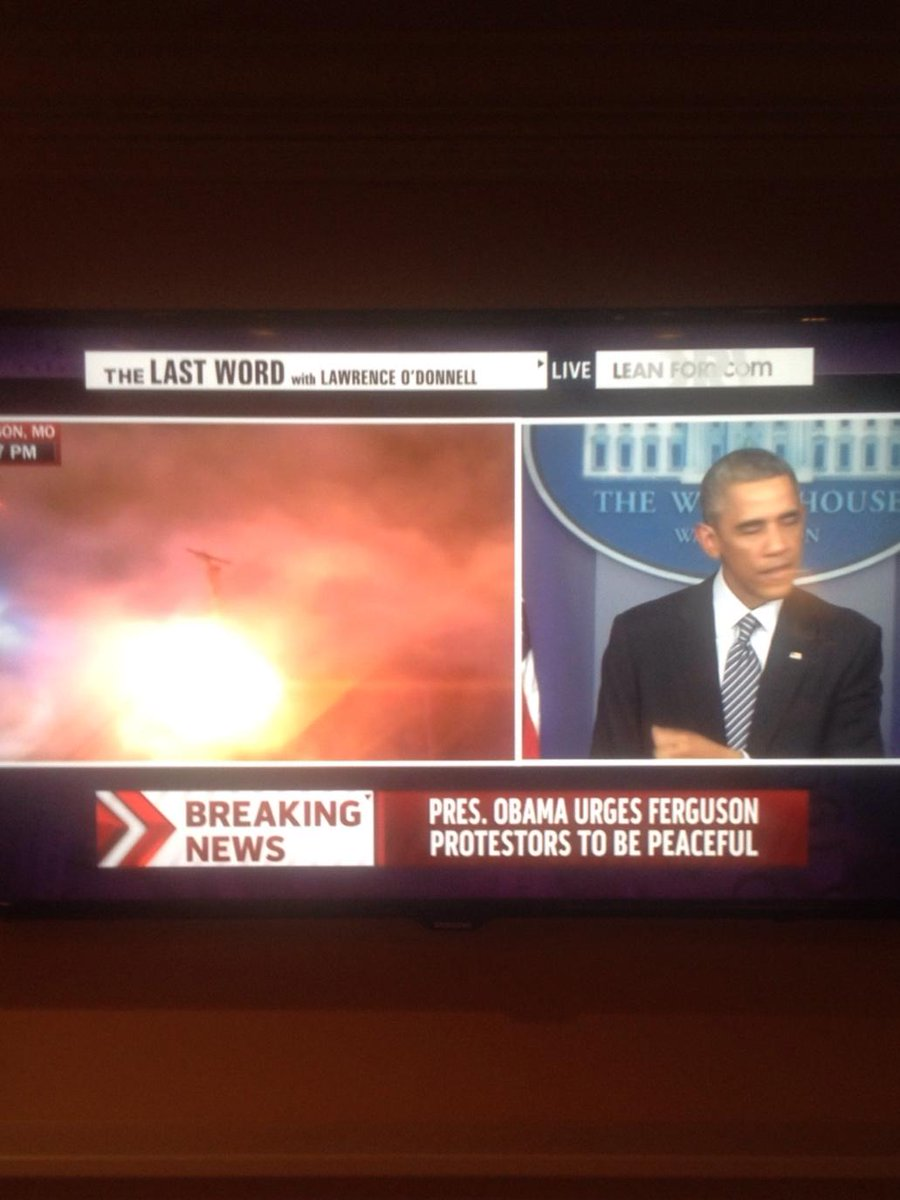 Tear gas deployed by police just as Obama is urging non-violence. Surreal split screen. http://t.co/2JTytpCM5d