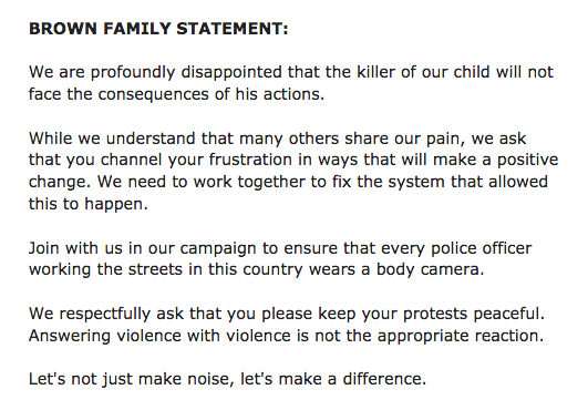 Official statement from the family of Michael Brown. http://t.co/1upR57H2YW
