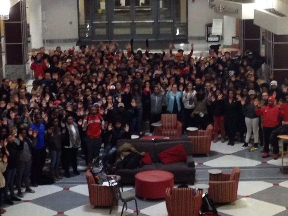 More than 150 Ohio State students gather with hands up in student union after #ferguson prayer vigil. http://t.co/DhWGwrtU2k