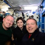 """First """"Space Selfie"""" of the mission.  With #AstroButch and @AstroSamantha http://t.co/6ksLTKxkq6"""