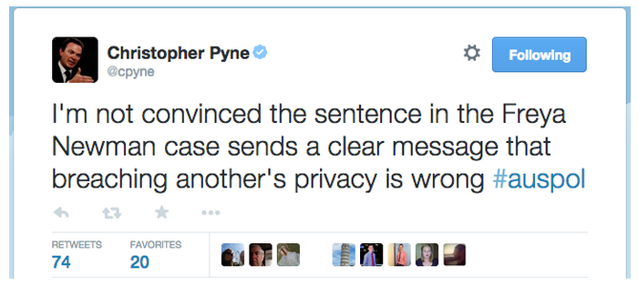 So @cpyne please remind me of the sentence given to Mal Brough for breaching Slipper's privacy? Hypocrite!! #auspol http://t.co/ckBzIm4DuE