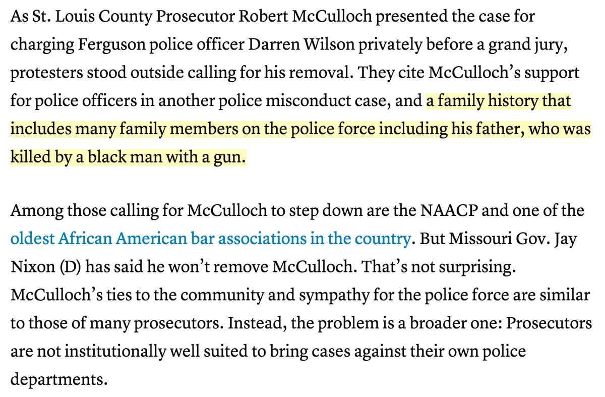 Meanwhile, Prosecutor McCulloch failed to recuse himself despite serious conflict of interest http://t.co/84KNPOWRDB http://t.co/df9zwmhjgM