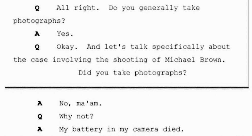 "WTF!! ""@aurabogado: The medical examiner didn't take photos of Mike Brown's body. Because they ran out of batteries. http://t.co/2KQzxtqttm"""