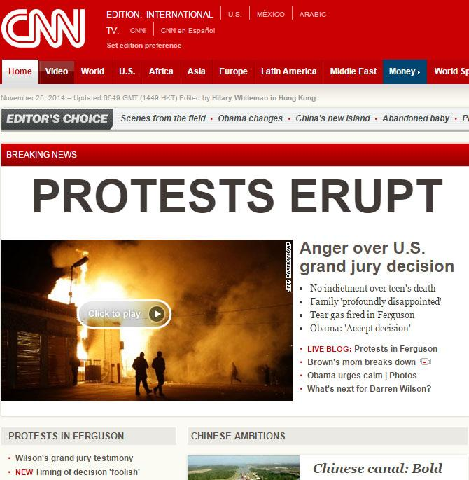 Interesting to compare how CNN International and CNN US chose to frame the #Ferguson decision. http://t.co/yIXIh0c94N