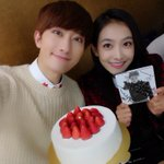 With SONGQIAN in TheShow😃😃😃Delicious cake kkkk http://t.co/5q7Bx72QEh