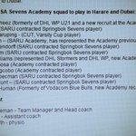 SA Sevens Academy team for Harare CAR Tournament @Blitzboks @zimbabwerugby http://t.co/irdzICLLAb