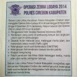 MULAI BESOK Operasi Zebra Lodaya 26 Nopember - 9 Desember 2014 http://t.co/Bto7NYNKiz