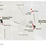 A map of Ferguson via NYT, red dots are violent parts last night. (on right, LA riots) MT @Jordan_Stewart http://t.co/i6MqZyStzP