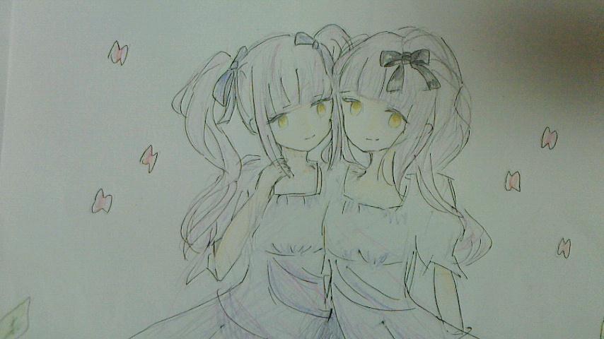 @2mimi_3mimi: 1125の日、とりあえず双子はかこうと思って落書き。あとでフランチェスカさんを描く予定です。