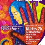 En unos minutos: Marcha NO a la violencia contra la Mujer. Hoy martes 25-Nov 11:00 hrs Paseo Arauco #chillan http://t.co/ofk0Y288vW