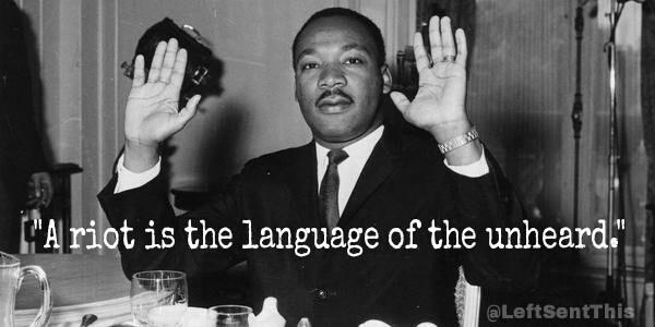 """You better believe it. #NoBlackFriday """"@LeftSentThis: """"A riot is the language of the unheard."""" - MLK  #Ferguson http://t.co/7J8hGhvSGe"""""""