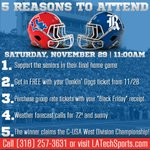 Just in-case you needed a reason to come to the final @LATechFB game, we gave you 5! #BeatRice #BulldogCountry http://t.co/0HxLVVEt9n