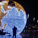 En avant-première : La Mappemonde illuminée de ses 65 250 le leds sur la Comédie à Montpellier http://t.co/h17LV9mwo9