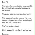 Dear #KOT the Ole Sereni- Langata By-Pass is a DANGER Zone. Please share this tweet to alert all Nairobians http://t.co/QmK9YTySzD