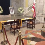 More of an intimate setting for those signing the condolences book for Marion Barry. @wusa9 #MayorForLife http://t.co/ortE44pqSN