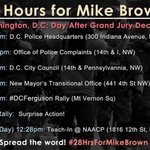 FYI: DC protests will continue this afternoon/evening w/ main event being #dcferguson rally in Mt Vernon Sq at 7p. http://t.co/vVMqFuy46t