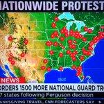 Map of #Ferguson protest cities from CNN, via @brianstelter: https://t.co/jSeHOYr8MR