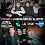 Two of the worlds biggest groups, one place to see them. See @5SOS & @onedirection perform 7.30 tonight. #ARIAs http://t.co/36QU78HpOs